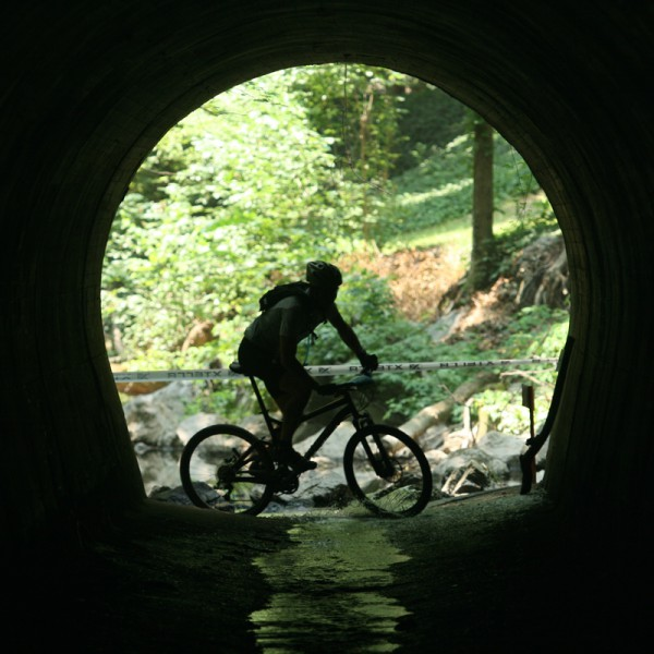Mountain biker in Forest Hill Park tunnel