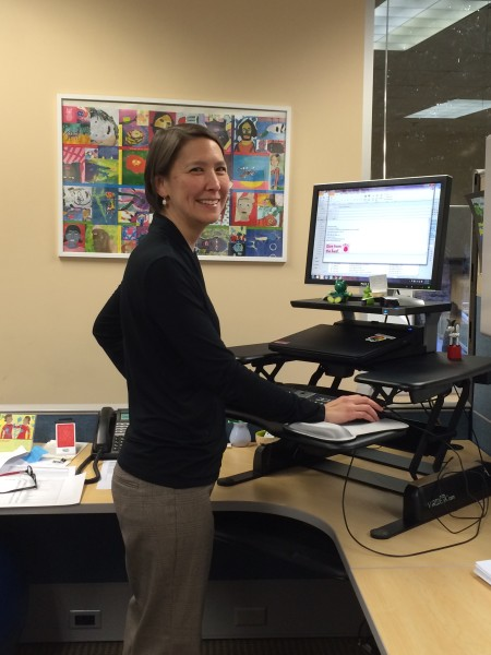 Standing desk at the Community Foundation